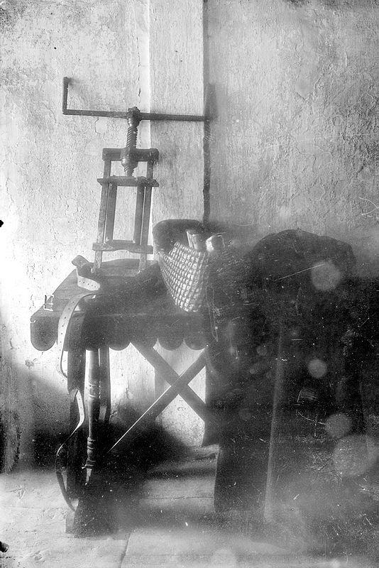 El garrot vil, tal com el va fotografiar Builles cap al 1911. Al bon Wenceslao el va impressionar considerablement.