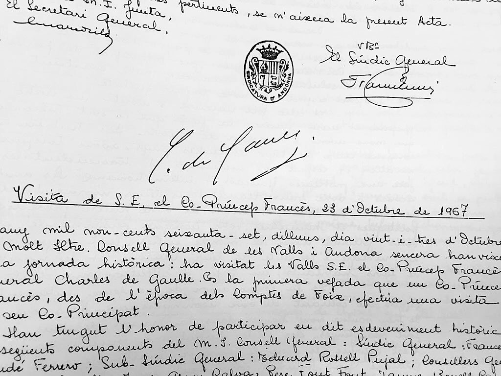 Andorra, atemptat, aniversari, 1967, De Gaulle, firma, autògrafa, Arxiu Nacional, acta, llibre d'actes
