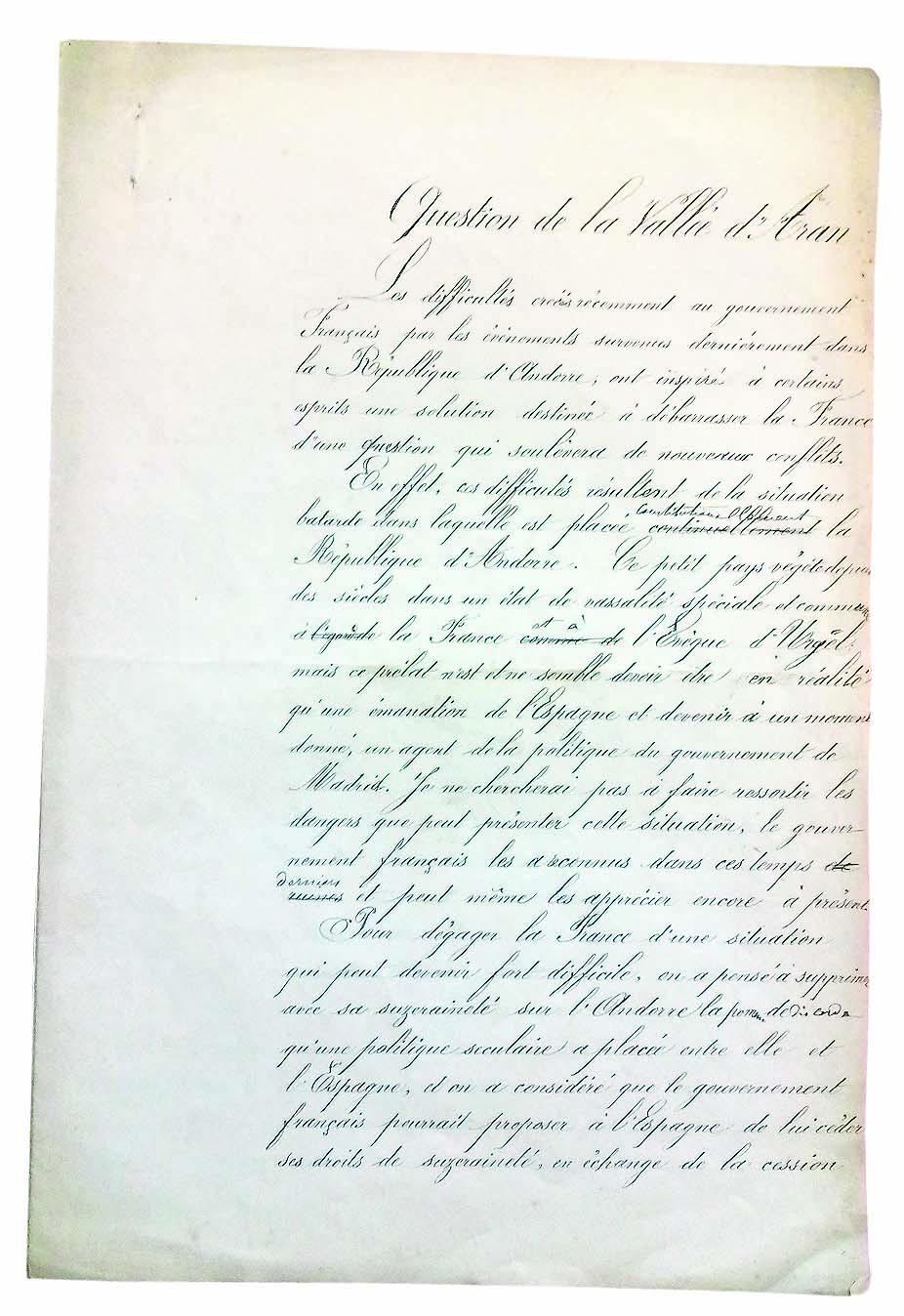Primera de les vuit pàgines del document, titulat 'Question de la Vallée d'Aran' i firmat per Ch. Blanchard, 'chef d'escadron d'état major'; no està datat.