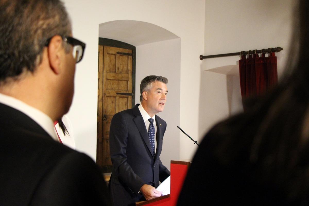 El síndic general, Vicenç Mateu, durant el tradicional discurs de Meritxell, ahir a Casa de la Vall.