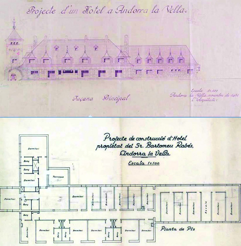 Alçat i planta del Park Hotel traçat per l'arquitecte Joan Margarit Serradell.