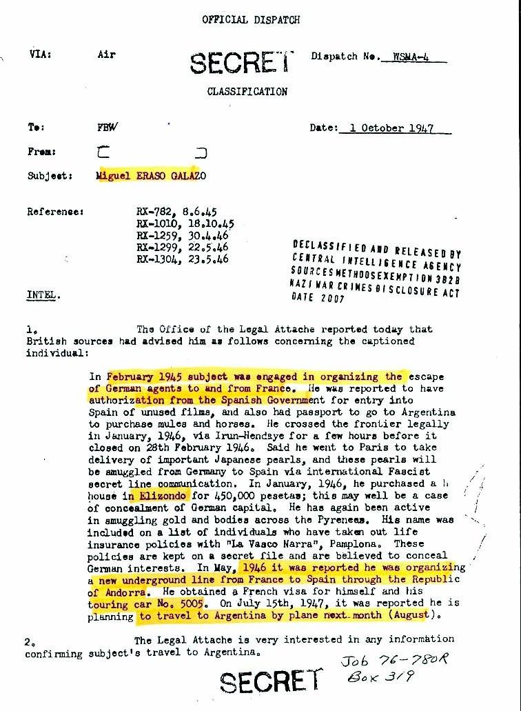 Document realtiu a Miguel Eraso desclassificat el 2017.