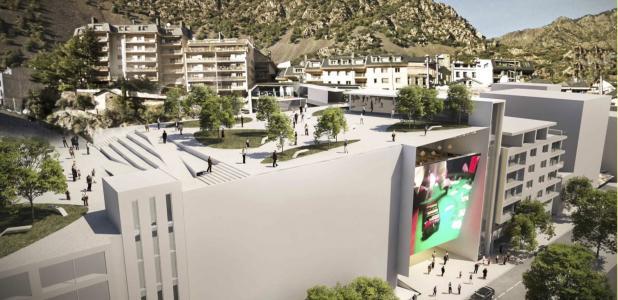 Projecció de l'edifici del casino que Jocs SA preveia construir a Prat de la Creu.