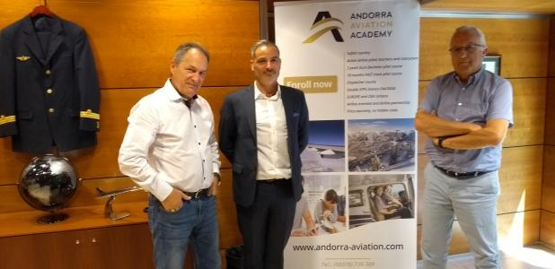 Raymond Ginesta, Stéphane Larrieu i Miquel Armengol són els tres impulsors de l'Andorra Aviation Academy.