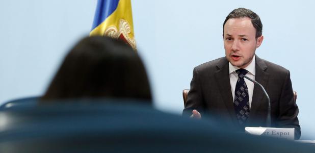El ministre d'Afers Socials, Justícia i Interior, Xavier Espot, durant la compareixença d'ahir.