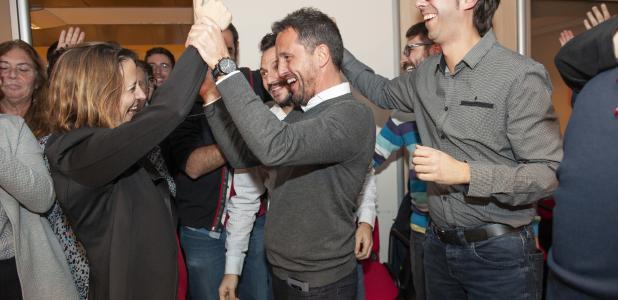 Rosa Gili i Pere López celebren el triomf a Escaldes-Engordany.
