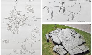 Guerrers, cavalls i cavallers d'origen probablement medieval –a l'esquerra i a dalt– van aparèixer a la paret vertical que uneix les dues terrasses, amb incisions en forma de fus, estels, triangles, branques, creus i graelles, i d'origen probablement neolític: a baix, reproducció en bronze d'una de les terrasses, instal·lada a finals dels anys 90 davant del Palau de Gel.
