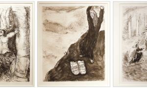 Tres dels aiguaforts que s'exposen al CAEE: Samsó ensorra les columnes del temple, Moisès trenca les taules de la llei, i judici de Salomó (318 per 240 mil·límetres, 1932-1959).