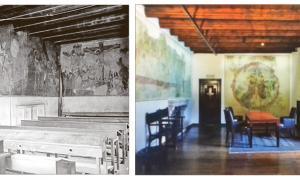 L'habitació del bisbe, cap al 1920: tres anys abans s'havia reconvertit en aula de l'escola francesa de la capital; a la dreta, reconvertida en despatx del Síndic, en una fotografia del 1997.