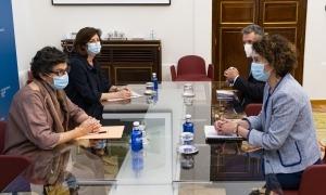 Un moment de la reunió entre Ubach i la ministra d'Afers Exteriors espanyola.