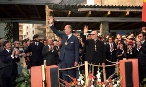 Valéry Giscard d'Estaing amb Joan Martí Alanis en la visita de l'octubre de 1978.