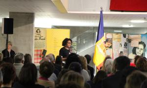 La secretària general de l'Organització Internacional de la Francofonia, Michaëlle Jean, durant la seva intervenció en la inauguració de la mostra.
