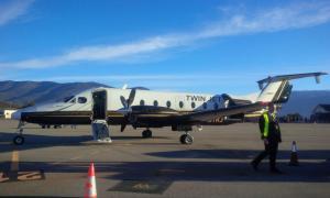 L'avió que cobreix el trajecte entre Madrid i l'aeroport d'Andorra-la Seu d'Urgell.
