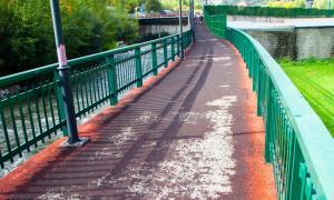 Imatge d'un tram del passeig, amb el paviment de cautxú malmès.