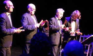 Actuació del quartet Percussió de butxaca, tercer concert del projecte educatiu de la Fundació ONCA