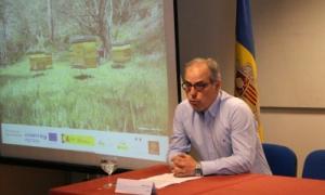 El president de l'Associació de Pagesos i Ramaders, Xavier Coma, durant la seva intervenció a les jornades sobre el canvi climàtic d'aquest dimarts.