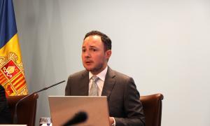 El ministre d'Afers Socials, Justícia i Interior, Xavier Espot, durant la roda de premsa posterior al consell de ministres en què ha explicat el projecte de llei.