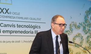 El president de l'Empresa Familiar Andorrana (EFA), Francesc Mora, durant l'obertura del XXè cicle.