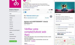 Una imatge de l'avís que Andorra Telecom ha difós a través de les xarxes socials.