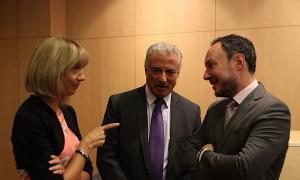El ministre d'Afers Socials, Justícia i Interior, Xavier Espot, durant la conferència d'aquest dimarts al migdia de l'especialista Marije Goikoetxea.