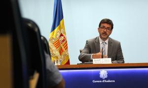 El ministre portaveu, Jordi Cinca, durant la roda de premsa posterior al consell de ministres.