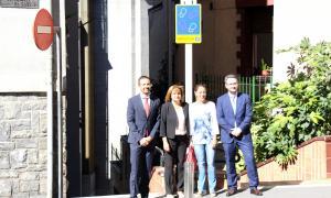 Jordi Torres, Trini Marín, Sandra Tomàs i Èric Jover durant la presentació del nou camí escolar.