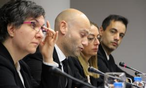El conseller d'Esports i d'Informàtica, Jordi Vilanova, durant el consell de comú d'aquest dilluns.