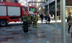 La paperera situada a l'avinguda Carlemany després de l'actuació dels bombers.