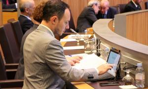 El ministre Xavier Espot en una sessió del Consell General.