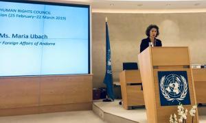 Maria Ubach, durant la seva intervenció a la seu de les Nacions Unides a Ginebra.