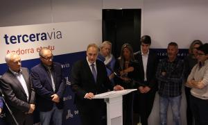 El candidat a cap de Govern de la terceravia, Josep Pintat, durant l'acte de presentació de les llistes.