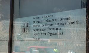 Entrada a l'edifici del Prat del Rull, seu del ministeri d'Economia, Competitivitat i Innovació.