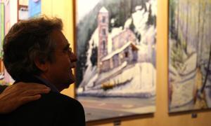 L'artista Jaume Campmany durant la presentació de l'exposició.