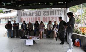 L'acampada de protesta a la plaça del Poble. el passat 20 de juliol.