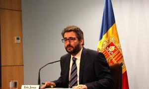 El ministre portaveu, Eric Jover, durant la roda de premsa posterior al consell de ministres.