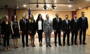 Els nous secretaris d'Estat després de la presa de possessió del càrrec, juntament amb el cap de Govern, Xavier Espot.