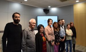 Els responsables del treball juntament amb la ministra de Cultura i Esports, Sílvia Riva; la cònsol major d'Andorra la Vella, Conxita Marsol i la doctora en geografia i encarregada de l'estudi sobre l'avinguda Maria Jesús Lluelles.