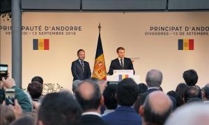 El copríncep francès, Emmanuel Macron, i el cap de Govern, Xavier Espot, durant la visita a Andorra.