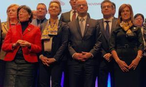 Ester Vilarrubla en la conferència del Consell d'Europa de ministres d'Educació, a París.