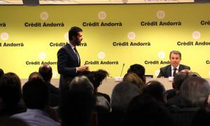Antoni Bisbal, soci director de Crowe Andorra i especialista en l'àrea de fiscalitat i Gerardo Roca, advocat i soci responsable del departament legal de Crowe Spain, durant la xerrada.