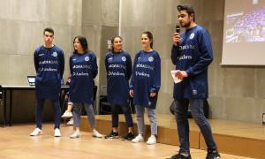 L'equip de MoraBanc durant la seva presentació.