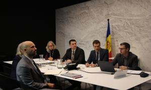 La delegació andorrana i canadenca en la reunió que han mantingut avui.