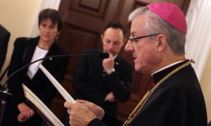 El copríncep episcopal, Joan-Enric Vives, durant el discurs de la recepció de Nadal al Palau Episcopal.