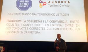 El cap d'àrea de Mobilitat, Jaume Bonell, durant la presentació de la primera campanya d''Andorra territori ciclista'.