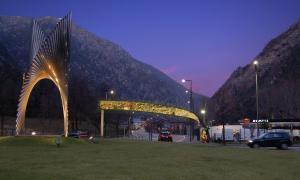 Una imatge de com serà el portal de leds que el comú instal·larà a la Margineda.