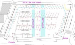Plànol de l'aparcament del Prat Nou per dur a terme els tests ràpids d'anticossos.