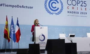 La ministra de Medi Ambient, Agricultura i Sostenibilitat, Sivia Calvó, durant la seva intevenció a la COP25.