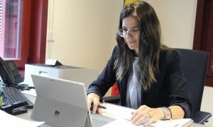 La ministra de Cultura i Esports, Sílvia Riva, en un moment de la reunió telemàtica celebrada aquest dilluns.