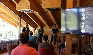 Betim Budzaku, Verònica Canals i Eric Torres, durant la presentació del festival.