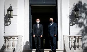 Trobada bilateral entre el cap de Govern, Xavier Espot, i el primer ministre de Portugal, António Costa.